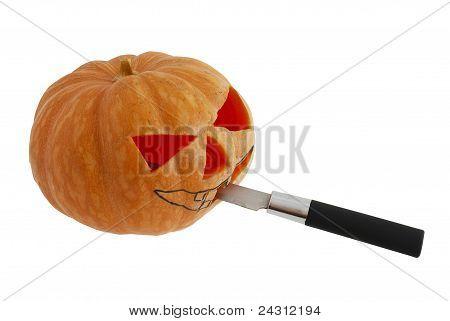 Halloween Jack O Lantern  Carving Pumpkin With Knife