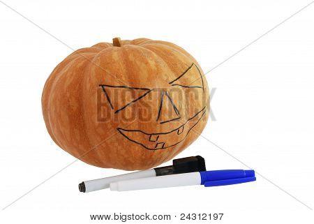 Halloween Jack O Lantern Drawn Pattern