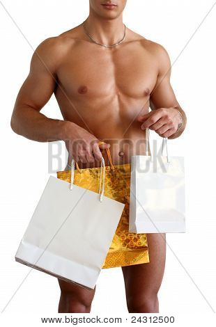 Muscular Man With Gift Bags Isolated On White