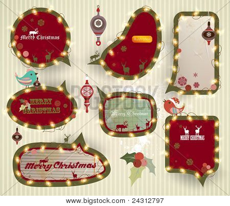 Christmas speech bubbles set with garland, EPS10 vector