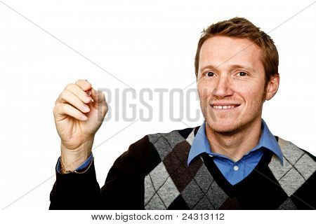 young caucasian man write position isolated on white