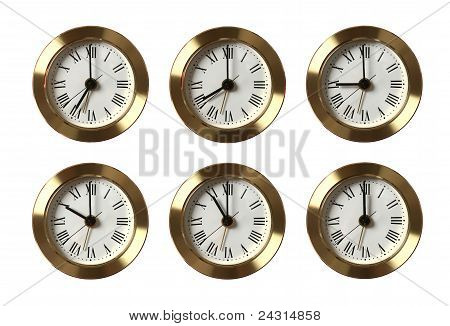 Six Clocks Showing Different Time