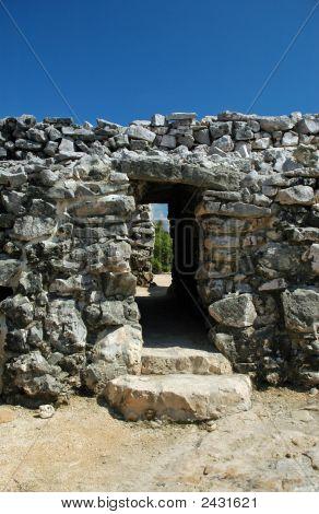 Closeup Of Ancient Mayan Gateway In City Walls