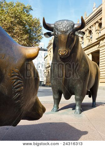 Bull & Bear Statue At The Frankfurt Stock Exchange