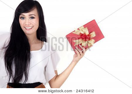 Pretty Woman With A Christmas Box