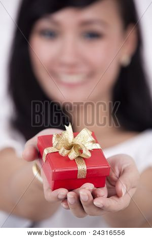 Woman Offering A Gift