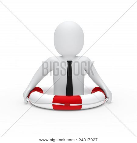 3D Businessman In Lifebelt