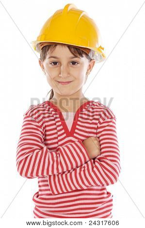 future engineer girl a over white background