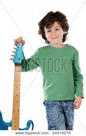 Handsome boy whit electric guitar a over white background