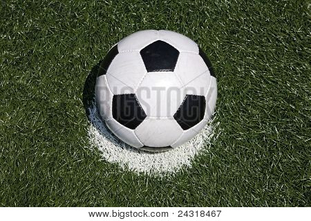 Soccer ball on the penalty point in the grass