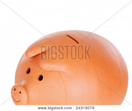Photo of piggy-bank on a over white background