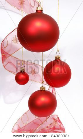 Hanging red glass balls