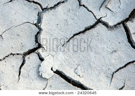 Cracks in the land of a river in drought due to climate change