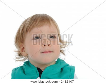 Cute Little Child 2 Years Old Smiling . Isolated On White Background
