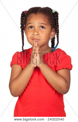 Sad little girl praying for something isolated on a over white