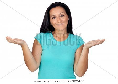 """Adorable woman with blue t-shirt saying """"sorry"""" isolated on a over white background"""
