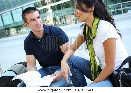 Attractive Man and Woman couple at School Library