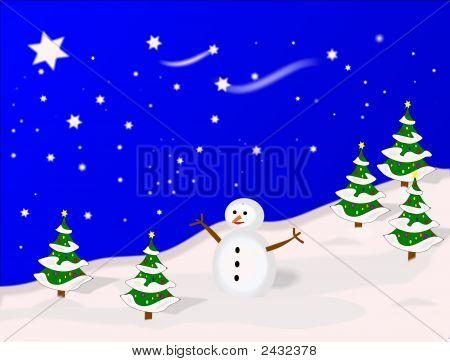 Winter Snowman Illustrated Scene