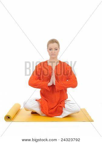 Series Or Yoga Photos. Young Meditating Woman On Yellow Pilates Mat