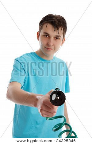 Smiling Boy Holding Garden Hose