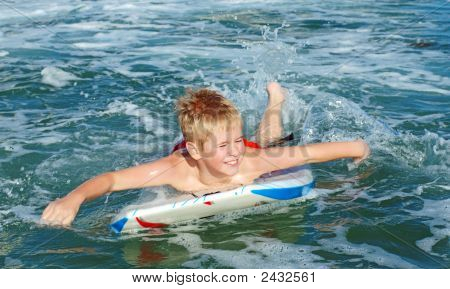 Happy Boy On Boogie Board
