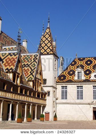 The Mosaic Roof Hospice In Bon (hôtel-dieu De Beaune). France