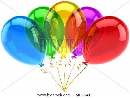 Five party balloons birthday decoration