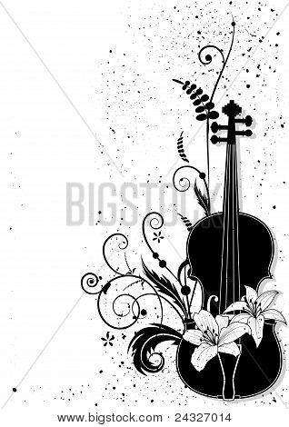 Composición Musical Floral Vector