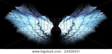 alas de Ángel de plata y azul