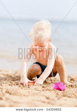 Toddler At A Beach