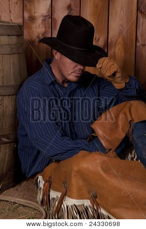 Cowboy Hold Hat Sit Barrel
