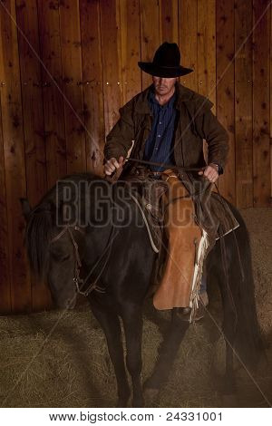 Cowboy Riding Horse Black