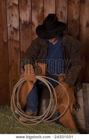 Cowboy Sit Barrel Hold Rope