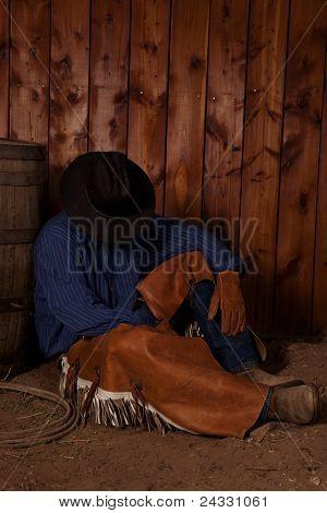 Cowboy Sit By Barrel Sleep