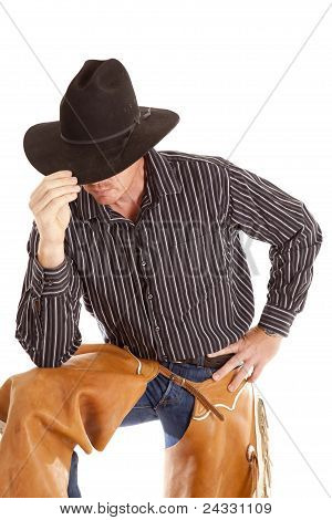 Cowboy Touching Hat Leaning