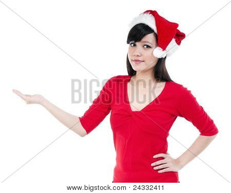 Christmas Woman With Hand Outstretched