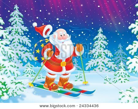 Santa Claus skiing with a toy sack