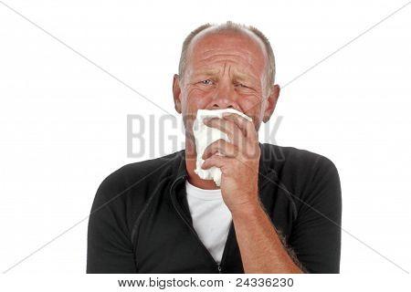 Crying sad man on a white background