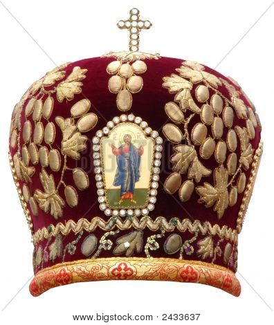 Red Mitre Solemn Headgear Of The Orthodox Bishop