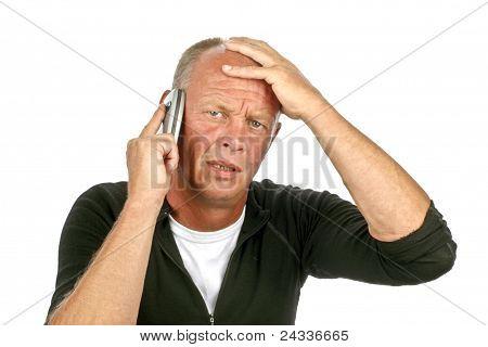 Desperate sad man on a white background