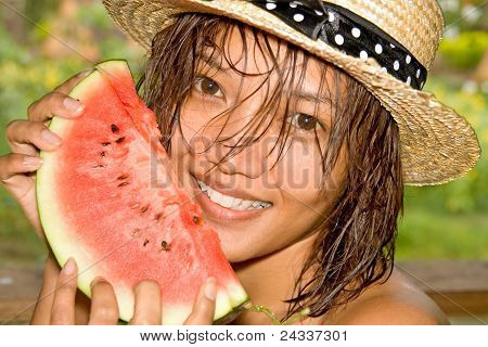Girl eat fresh water melon