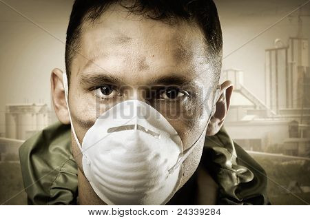 Portrair Of Sad Man In Breathing Mask