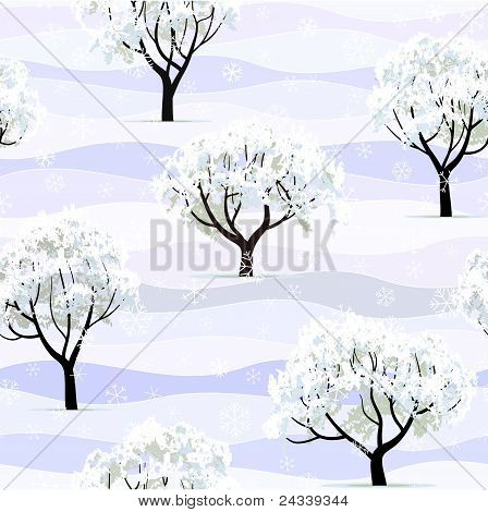 trees in snow in winter garden seamless