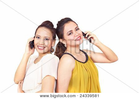 Smiling Girls On Phones