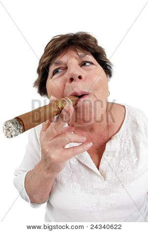 Old Woman Smoking A Cigar