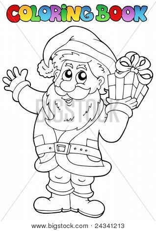 Coloring book Santa Claus topic 1 - vector illustration.