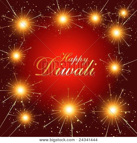 beautiful diwali fireworks stylish vector illustration