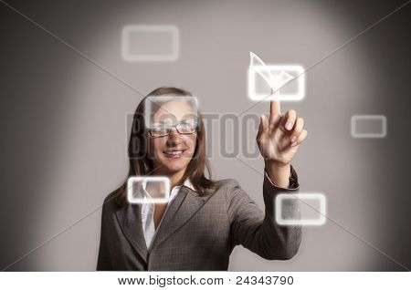 Woman Pushing A Button On A Touch Screen Interface
