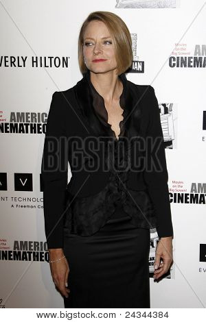LOS ANGELES - OCT 14:  Jodie Foster arriving at the 25th American Cinematheque Award Honoring Robert Downey Jr. at the Beverly Hilton Hotel on October 14, 2011 in Beverly Hills, CA