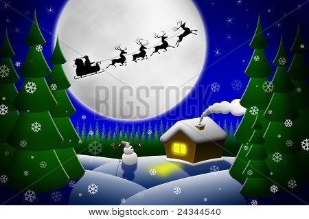 Santa And His Reindeers Riding Against Moon